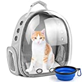 Cat Backpack Carrier Bubble,Large Transparent Pet Backpack Bag,Portable Ventilated Carry Backpack for Cat & Small Dog,Airline Approved Waterproof Pet Carrier Bag for Hiking Outdoor Use (Grey)