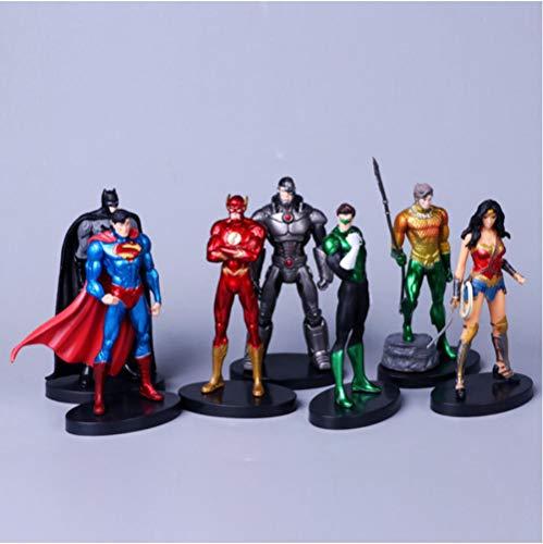 zdfgv 7pcs/Set Justice Super Hero Superman Batman Flash Neptune Wonder Woman Action Figure 14cm