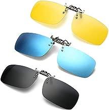 3 PACK, Clip on Flip up Polarized Sunglasses, UV Protection Lens Over Prescription Glasses, NEWON Shades For RX Eyeglasses, men women reading fishing night driving, Black Blue mirror Yellow