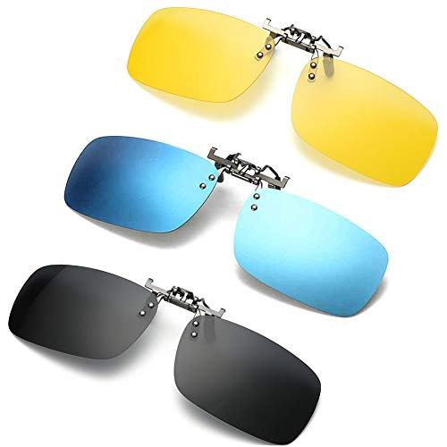 3 PACK, Clip on Flip up Polarized Sunglasses, UV Protection Lens Over Prescription Glasses, NEWON Shades For RX Eyeglasses, men women reading fishing...