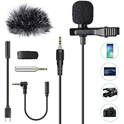 AGPTEK Professional Lavalier Lapel Microphone, Hands Free Clip-on Omnidirectional Condenser Mic with 3 kinds of Adapters and Wind Muff, for Camera, DSLR, iPhone, Android, PC, Podcast