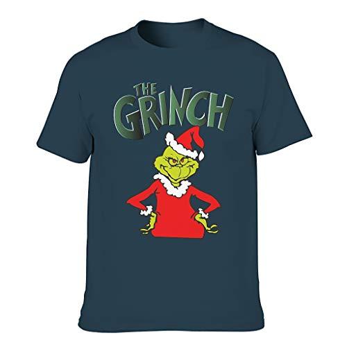 Fun Christmas Print Men's Short-Sleeved Cotton Adult T-Shirt - Blue - S