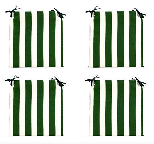 TIENDA EURASIA® Pack 4 Cojines para Sillas - Estampados Lisos con 2 Cintas de Sujeción - Ideal para Interiores y Exteriores - 40 x 40 x 3 cm (Rayas Verde)