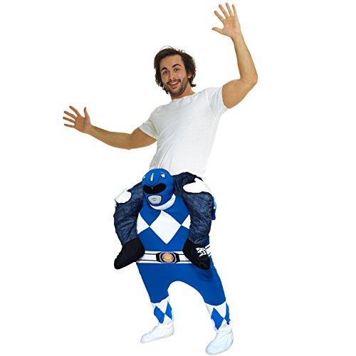 Morph Disfraz Power Rangers Azul a Caballito para adultos