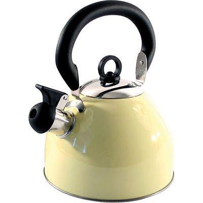 Home cordless 2.5l bollitore con fischio in acciaio INOX leggero con tradizionale/retrò beccuccio per piani di cottura stufa top–Crema–by Guilty Gadgets