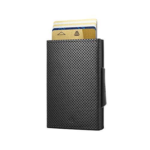 Ögon Smart Wallets - Cascade Slim Wallet - Automatische Geldbörse aus Aluminium und Leder - Popup-Karten - RFID-Schutz – Bis zu 8 Karten und Banknoten – Vegan Leder Schwarz / Aluminium Schwarz