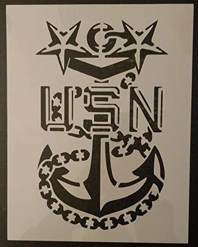 Reusable Sturdy Stencil USA US USN Navy Master Chief Anchor 8.5' x 11' Cut Stencil Sheet (not Paper) Arts and Crafts Material Scrapbooking for Airbrush Painting Drawing