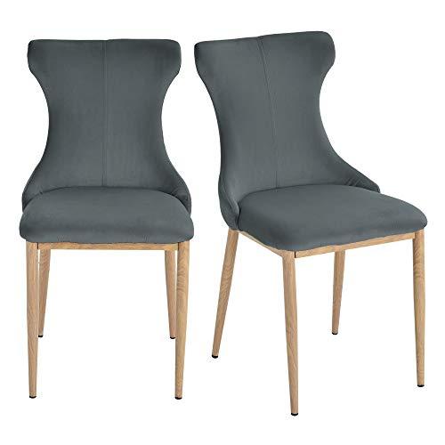 HOMCOM Lot de 2 chaises de Salle à Manger Chaise de Salon Pieds en métal 45 x 57 x 87 cm Gris