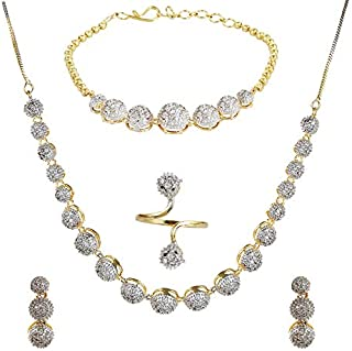 c7dcb32f7d84eb YouBella Jewellery Set for Women American Diamond Combo of Necklace Set  with Earrings, Bracelet and