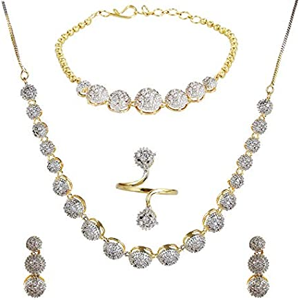 YouBella Jewellery Set for Women American Diamond Combo of Necklace Set with Earrings, Bracelet and Ring for Girls and Women