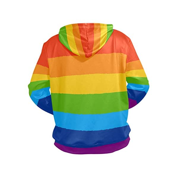 Rainbow Bisexual Pride Color Style Hoodie for Unisex Pullover Adult Long Sleeves Casual Thin Clothing 4