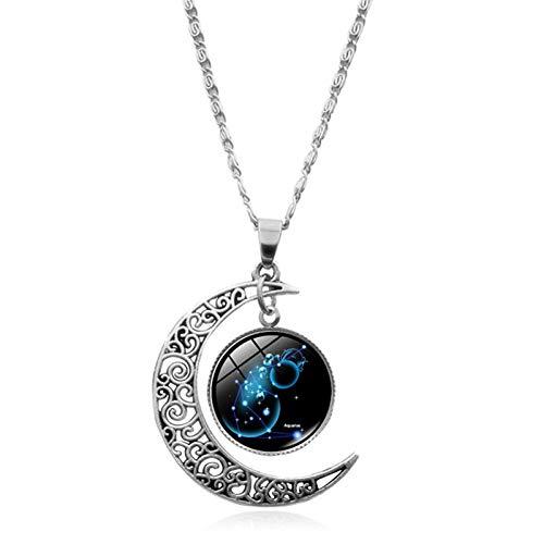 Delisouls Collar con colgante, collar de moda, collar de astrología, galaxia, luna creciente, cristal con cuentas de cristal, joyería de regalo para mujeres y hombres