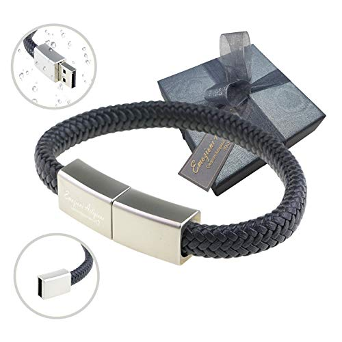 Bracciale Uomo Donna USB 32GB Regolabile - Idea Regalo Originale per Compleanno, Fidanzato, Papà, Amico. Inclusa Elegante Confezione.