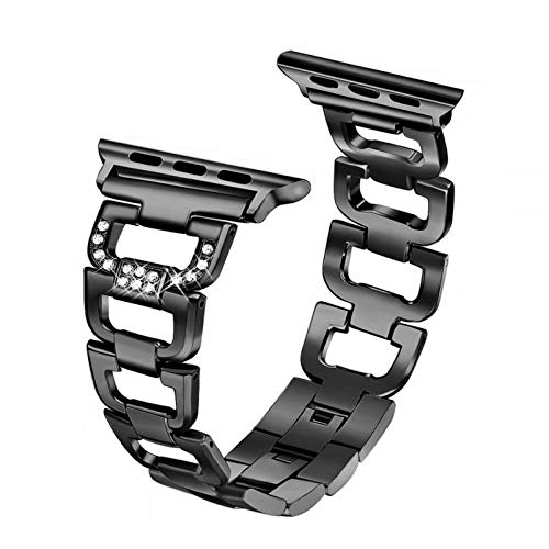 Link Bracelet apply to Apple watch band strap Apple watch 4 band 44mm 40mm 42mm 38mm Stainless Steel metal strap apply to iWatch 4 3 2 1 (Band Color : Black, Band Width : 38mm or 40mm)