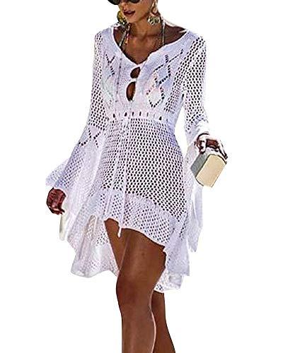 Mujer Pareos Playa Traje de Baño Verano Vestido de Playa Sexy Bikini Cover up Camisola de Playa Túnica de Punto (Tamaño Libre, A_Blanco)