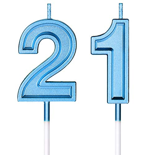 21st Birthday Candles Cake Numeral Candles Happy Birthday Cake Candles Topper Decoration for Birthday Wedding Anniversary Celebration Favor (Blue)