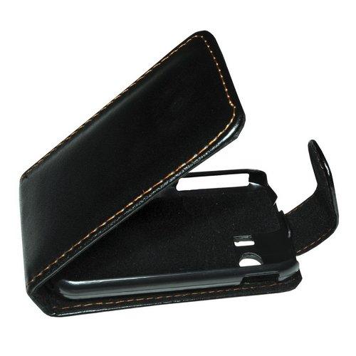 Mobilfunk Krause - Flip Hülle Etui Handytasche Tasche Hülle für Samsung GT-S5360 / S5360 (Schwarz)