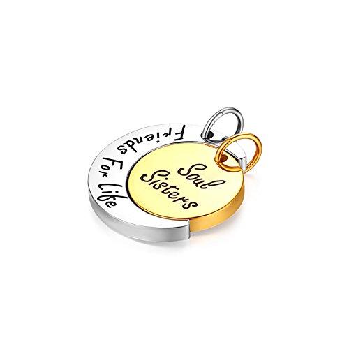 Flongo 2 Stück Damen-Ketten Freundschaftskette Freundschaftsanhänger, Edelstahl Anhänger Halskette Kette Silber Gold Mond Sonne Puzzle SIS Gravur Freundschaft Elegant Damen Frauen
