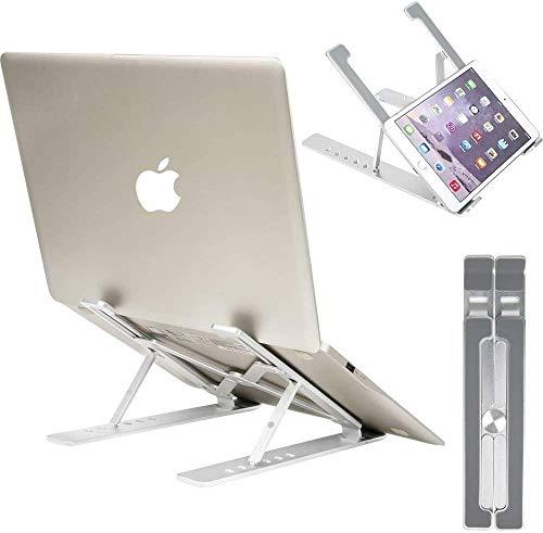 Laptop stand, foldable portable 7 height adjustable ventilated desktop laptop stand, non-slip aluminum laptop riser bracket for/laptop/11-17.3 inch desk-(grey)
