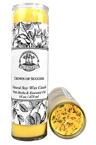 Crown of Success Scented 7 Day Soy Herbal Spell Candle (Fixed) Prosperity, Favorable Outcomes, Achievement & Obtaining Goals (Wiccan, Pagan, Hoodoo, Magick)