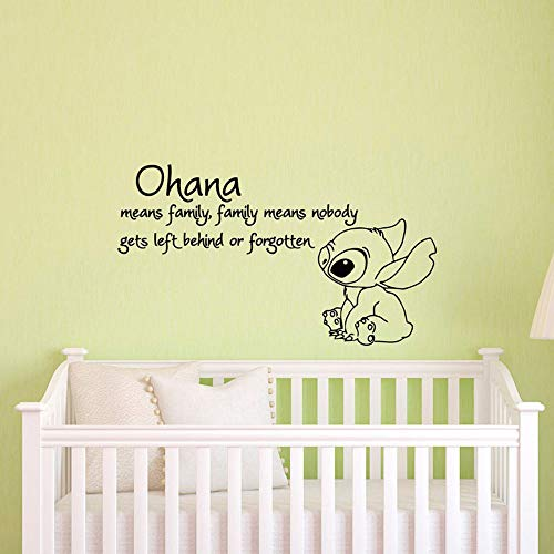 Significa familia significa que nadie es olvidado u olvidado Etiqueta de la pared Etiqueta de vinilo Etiqueta de la pared Etiqueta de la pared del dormitorio de los niños de jardín de infantes33x57cm