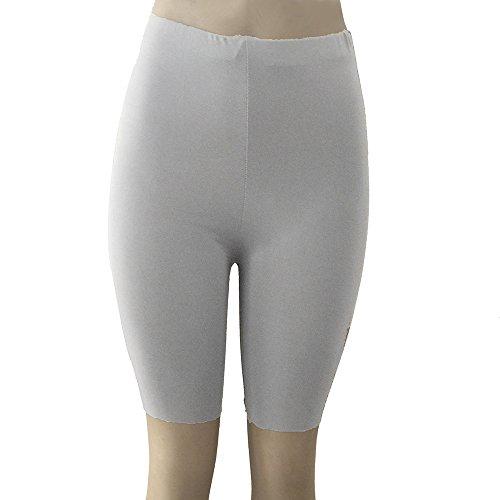 Jeash Women Solid High Elasticity Leggings Gym Active Dance Cycling Shorts Underwear Dress Shorts (Gray, L)