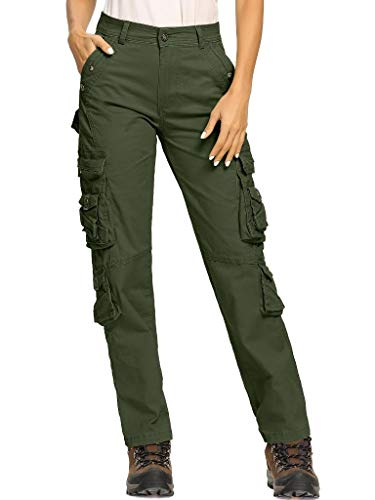 Women's Army Pants Casual Tactical Military Combat Hiking Cargo Work Pants Trousers with Pockets,Army Green,26