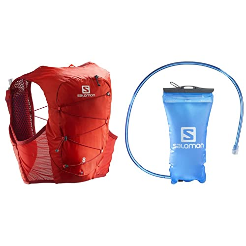 Salomon Active Skin 8 Set Chaleco 8L Unisexo 2x Soft Flasks Incluidas Trail Running Senderismo + Soft Reservoir Tanque Flexible 1.5L Trail Running Senderismo