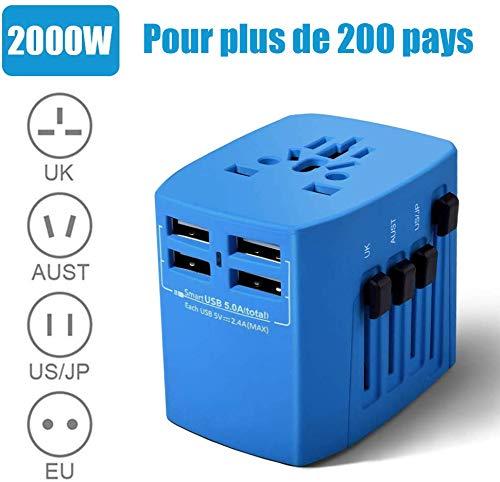 Reiseadapter EU USA, Reisestecker, 2000W Stromadapter mit 4 USB AC Steckdose, Föhn Reiseadapter für UK, EU, Thailand, Kanada, Japan,Australien über 200 Ländern, Blau