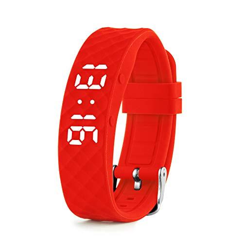 Vibrationsalarm Erinnerung Uhr (Anleitung auf Deutsch) – bis zu 10 persönliche Alarme oder Pillenerinnerungen pro Tag (rot)