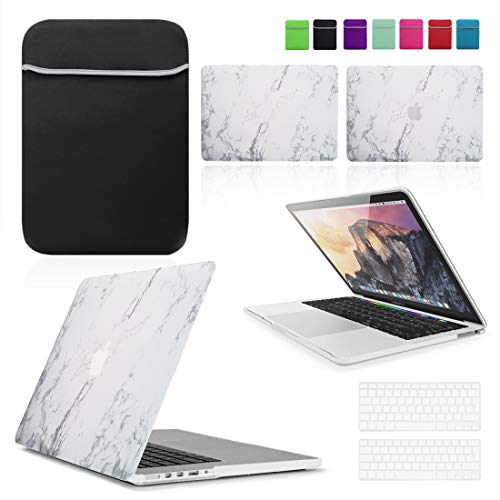BUNDLE - White Marble Hard Shell Case with matching Keyboard Skin and Neoprene Sleeve Cover for 13' & 15-inch Apple MacBook PRO