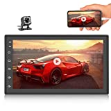 Podofo Double Din Android 9.1 Car Radio 7'' TFT Touch Screen GPS Navigation 1G+16G Indash Car Stereo Support Bluetooth FM WiFi Steering Wheel Control Dual USB + 12 LEDs Rear View Camera