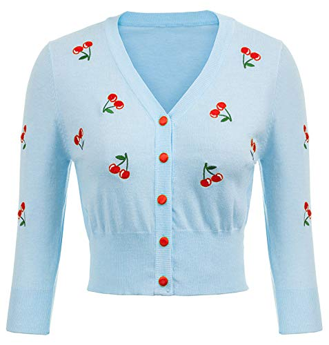 Belle Poque Eleganti Abiti da Festa da Donna Anni '50 Bottoni Cardigan RETR?RETR?Lavorato a Maglia Bolero floreale-10 (609-10) X-Large