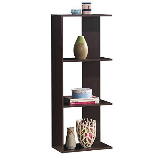 Tangkula 4-Shelf Bookcase, Display Shelf and Room Divider, Wooden Freestanding Decorative Storage Shelving, for Home Living Room Office Bedroom, Room Divider Bookshelf (Dark Brown, 1)