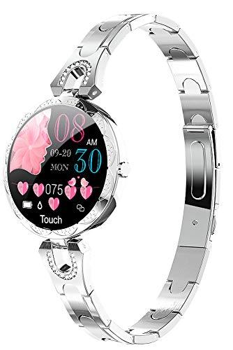 Smartwatch Damen Silber Smart Watch Fitnessuhr mit Blutdruckmessung Fitness Armbanduhr Pulsuhr Schrittzähler Uhr Frauen Pulsmesser Schlaftracker IOS Android Elegant Diamant Wasserdicht Rund