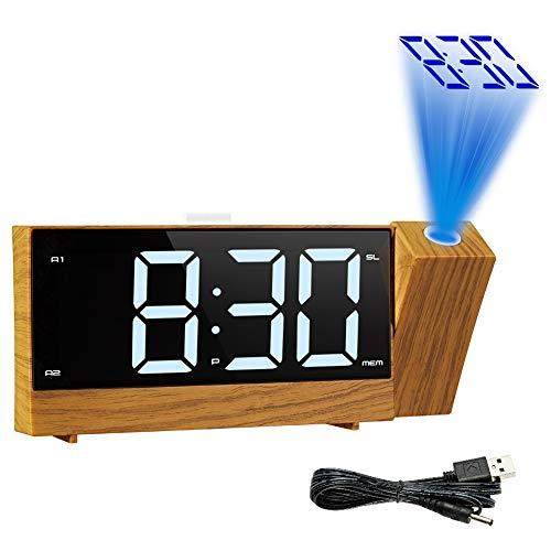 Cqing Projektions-Wecker, Digital Radio Dual-Wecker, dimmbare Decken Projection & Großer Display, Schlummerfunktion, Sleep-Timer, 2 USB-Lade Ports für Schlafzimmer Nacht