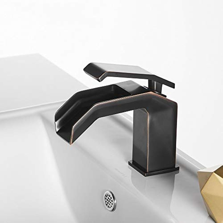Wasserfall Bad Becken Wasserhahn Messing Hei Kalt Waschbecken Mischbatterien Einzigen Griff Einlochmontage Mode Kran Für Bad, Schwarz