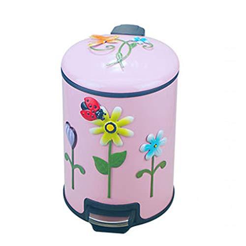 LMJ Bote de Basura Pedal Bote de Basura con Tapa Dormitorio del hogar Aseo Sala de Estar Cocina Baño Desodorante Bote de Basura (12L) Papeleras (Color : Pink, tamaño : 12l)