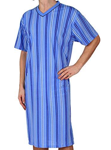 Classic Herrennachthemd, kurzarm, 100% Baumwolle, Hellblau , 3XL