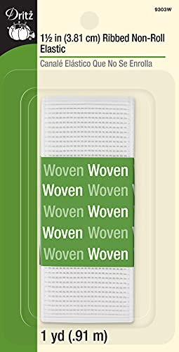 Dritz 9303W Ribbed Non-Roll Woven Elastic, White, 1-1/2-Inch by 1-Yard