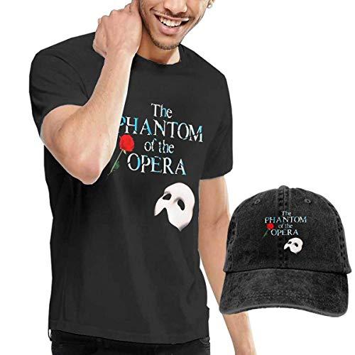 Tengyuntong sunminey Homme T- T-Shirt Polos et Chemises Funny Phantom of The Opera Rose Outdoor Casual Custom Short Sleeve T-Shirt Give Cowboy Hat Black