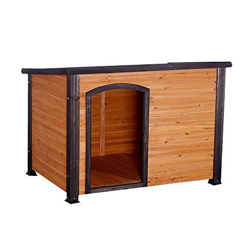 Hundehütte Dog House, Außenwitterungsbeständige Holzblockhaus, Haustiermöbel, Haustier-Haus mit höhenverstellbaren Füßen & Removable Boden, Haustier-Hundehaus Katzen- / Hundeschutz für Outdoor & Indoo