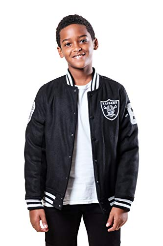Ultra Game NFL Las Vegas Raiders Youth Classic Varsity Coaches Jacket, Team Color, Medium