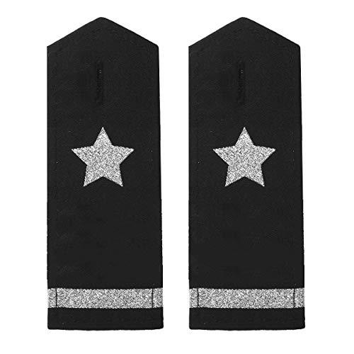 Freebily 1 Paar Uniform Schulterklappen Epaulette Piloten Marine Kapitän Kostüm Accessories mit Gold/Silber Stern Streifen Schwarz&Silber A One Size