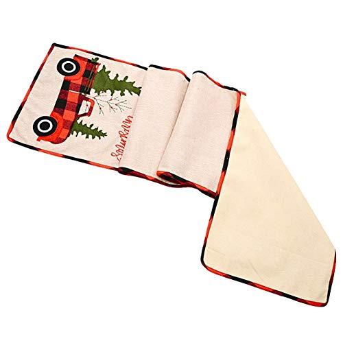 Terynbat 35180 cm de Navidad camino de mesa de coche árbol de Navidad camino de la mesa de la decoración de mantel de vacaciones ambiente disposición