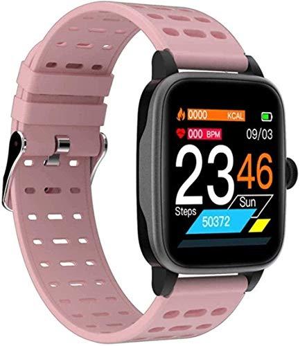 Smart Watch Sports Fitness Pulsera impermeable Actividad Tracker Monitor de ritmo cardíaco Presión arterial para Android IOS Fácil de usar - Negro-Rosa-Rosa