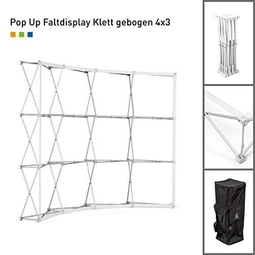 Gebogene Messewand Pop Up Klett Aluminium | ✓ faltbare Messewand | ✓ Faltdisplay mit Klettsystem | ✓ für für Messen, Verkaufsaktionen und Präsentationen | ✓ Transporttasche (4x3 Felder)