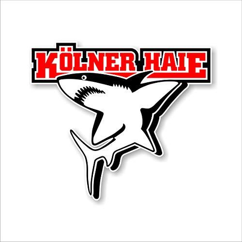 Kölner Haie Aufkleber Logo 4C (9, 9x8, 5cm), Rot/Weiß/Schwarz