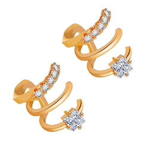 Holibanna 2Pcs Mujeres Ear Cuff Wrap Pendientes No Perforantes de Diamantes de Imitación Clip en Open Wrap Pendientes de Aro para Mujeres Regalos de Joyería (Dorado)