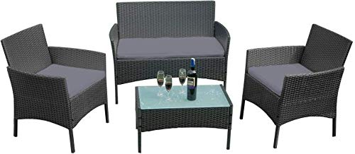 AIYOU Poly Rattan Balcony Furniture Set Lounge Patio Furniture Set with 2 Sofa Single Chairs Table and Anthracite Seat Cushion